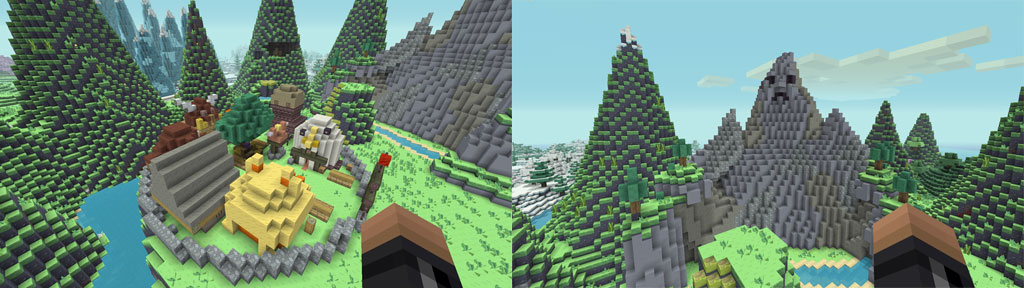 Images of Mountain Village and Mountain Man from Minecraft Adventure Time Mashup