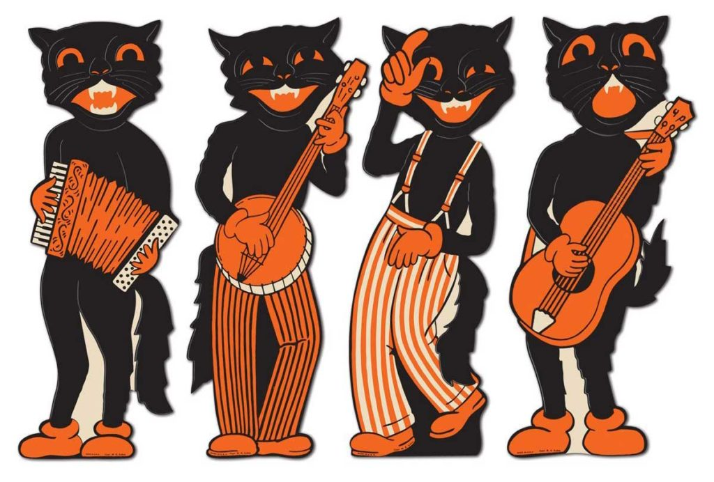 Beistle Black Cat Band vintage Halloween decorations