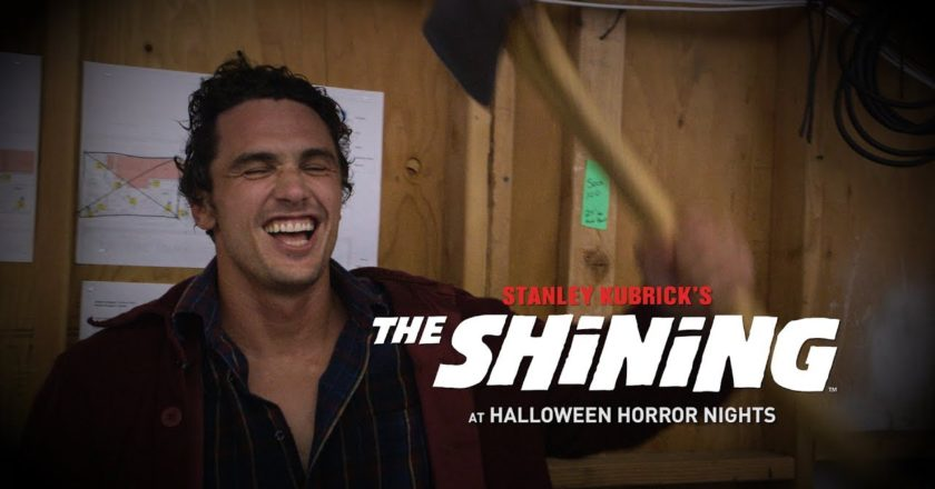 James Franco wields an axe behind the scenes at The Shining maze