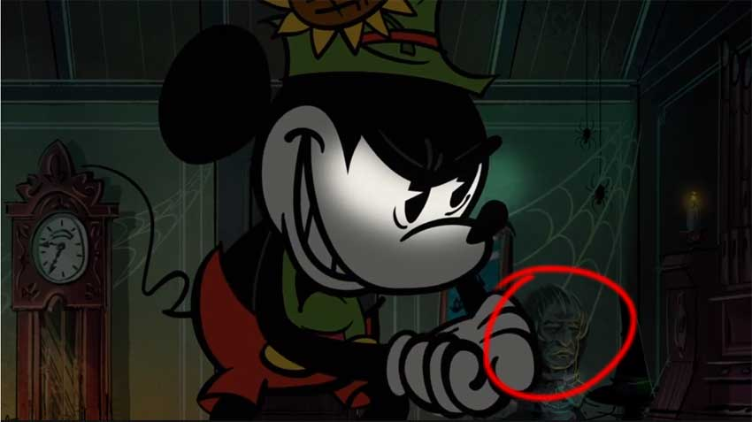 a bust from the haunted mansion can be seen behind mickey in this scene from the