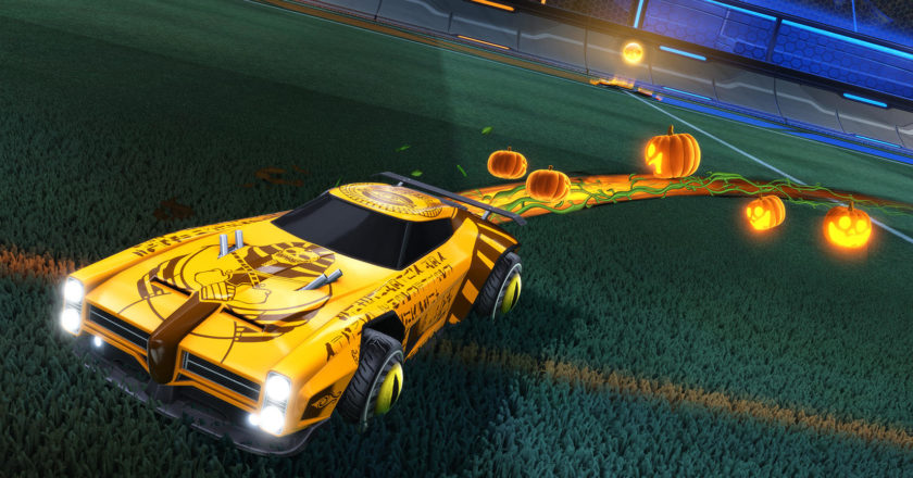 """Car with a mummy skin and jack-o-lantern boost in Rocket League's """"Haunted Hallows"""" event"""