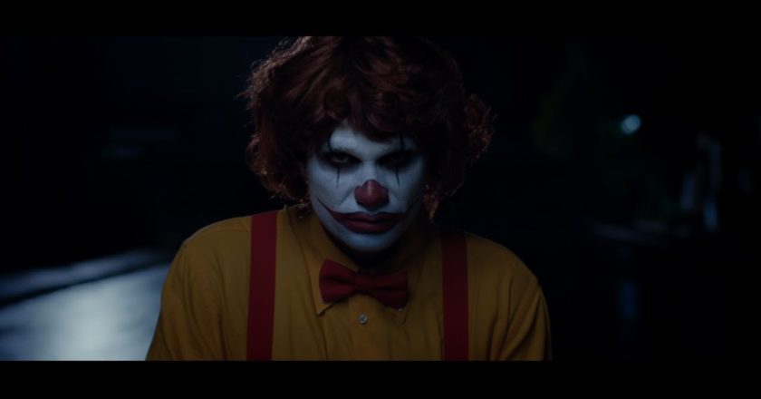 Ronald McDonald-esque clown from the Scary Clown Night ad spot.
