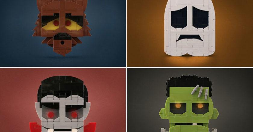 Werewolf, ghost, vampire and Frankenstein's monster LEGO creations by Tyler