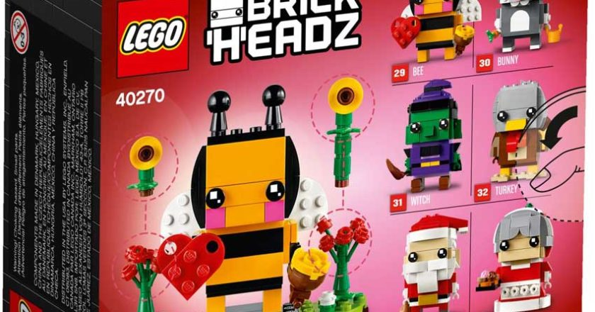 The back of the seasonal BrickHeadz Bee box showing all six seasonal BrickHeadz