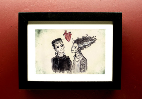 Frankenstein's Monster and Bride of Frankenstein Art Print 5x7 with Matting