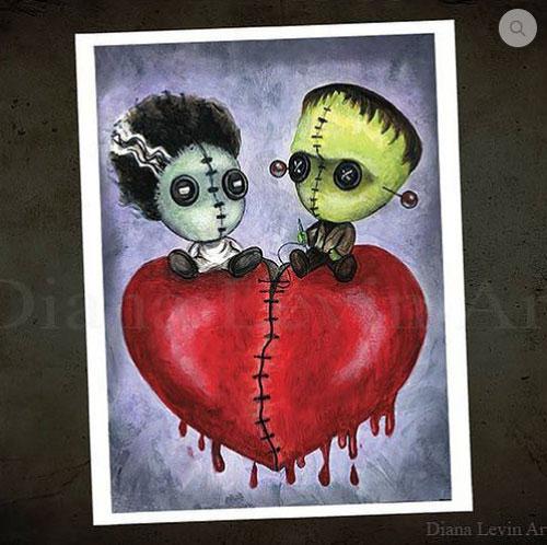 Bride and Franky Voodoo Dolls Art Print