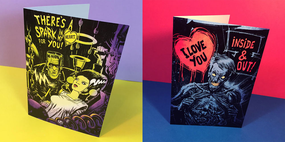 Two horror Valentine's Day cards. One featuring Frankenstein's Monster and his bride, the other featuring a zombie