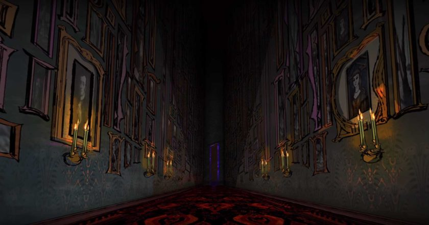 Picture lined corridor from the Haunted Mansion animated series intro