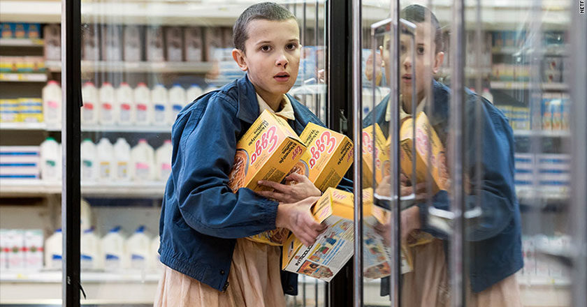 Eleven stealing Eggos in Stranger Things