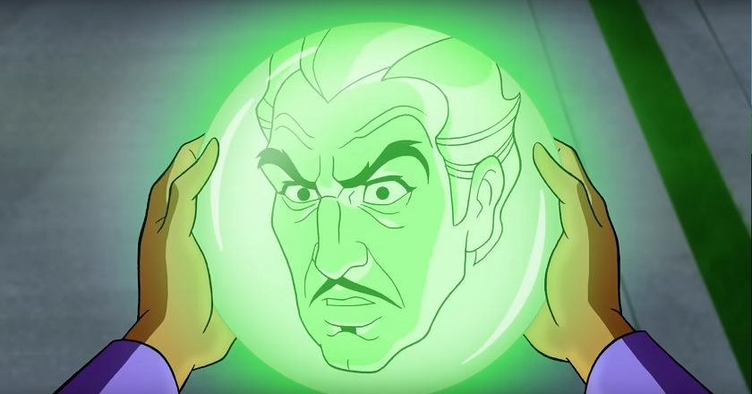 Vincent Van Ghoul speaking to Scooby and the gang through a crystal ball in Scooby-Doo! and the Curse of the 13th Ghost!